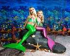 Little girls playing mermaid for photo session